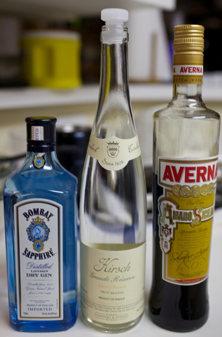 Ingredients for the Amarosa cocktail.
